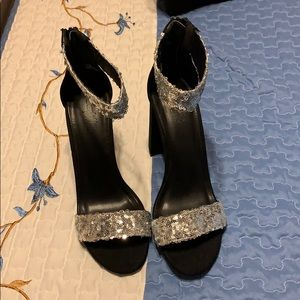 Charlotte Russe Black and Silver Heels